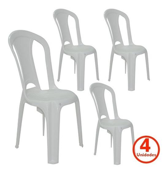 Conjunto 4 Cadeira Plástico Sem Braço Tramontina Economy 154