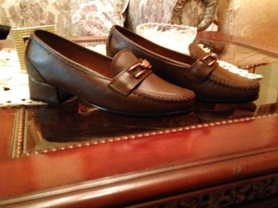 Zapatos Mocasin Marron De Piel Talla 35