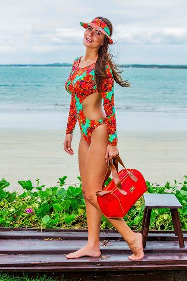 Bolsa Moda Praia Basset Premium Em Tela Vermelha