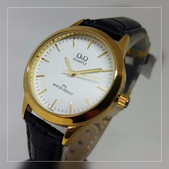 Relógio Feminino Médio Couro Preto Com Fundo Branco Q&q