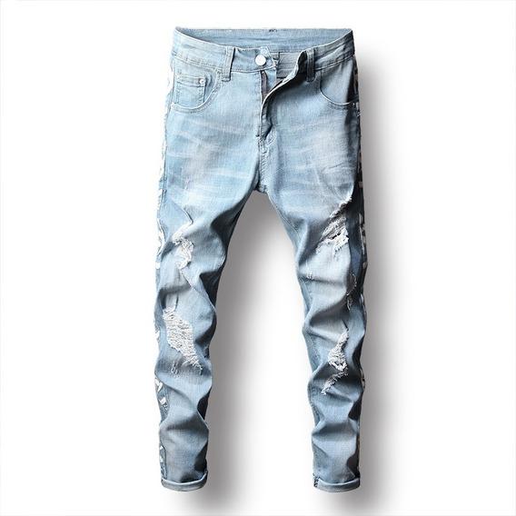 Calça Jeans Claro Masculina Rasgada Lançamento