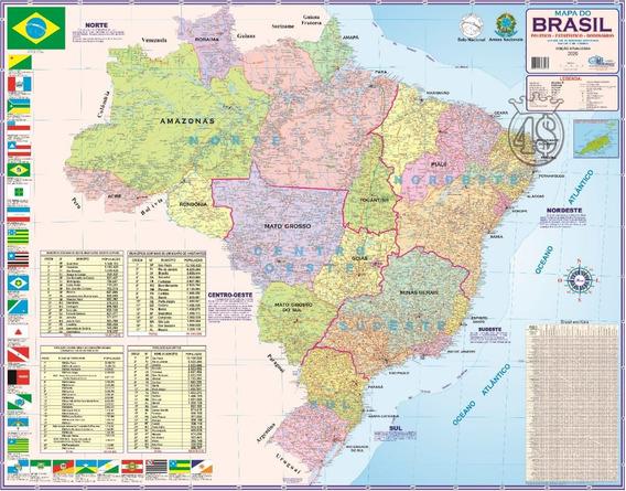 Mapa Brasil Politico Regional Rodoviário 120 X 90cm Gigante