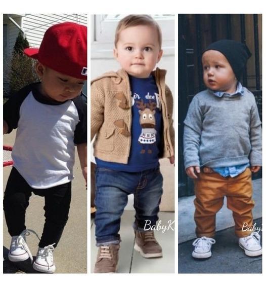 Kit 3 Calças Bebê Preta Marrom Jeans Menino 2 Á 18 Meses