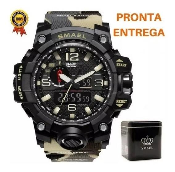 Relógio Camuflado Cor Caqui Militar Smael + Caixa Case Original