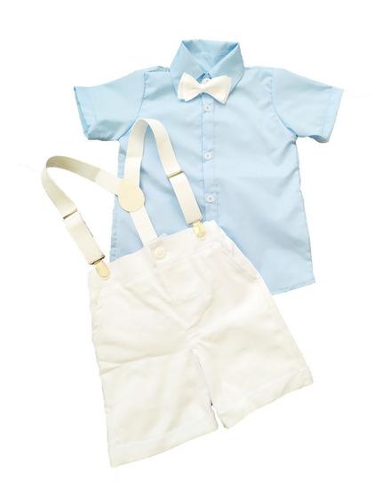 Kit Roupa Bebê 4 Pç Camisa Bermuda Susp Gravata 2mes A 3anos