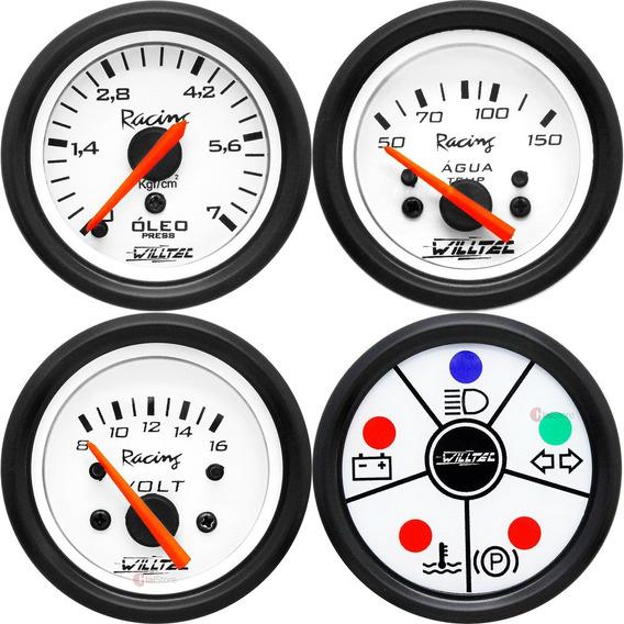 4 Manômetros Willtec 52mm Neon Tuning Painel Carro Bateria
