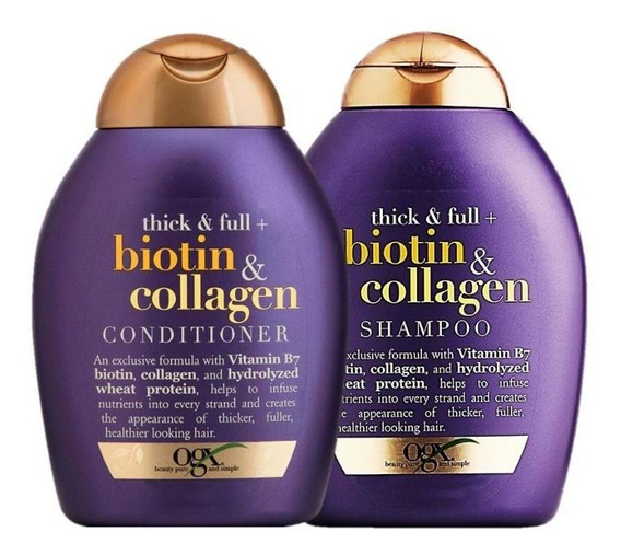 Kit Ogx Biotin & Collagen: 1 Condicionador 250ml + 1 Shampoo