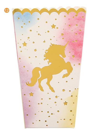 Cajas De Pochoclo Golosineras Carton Unicornio X6u