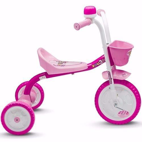 Triciclo Infantil Nathor Rosa Menina 3 Rodas You 3 Girl