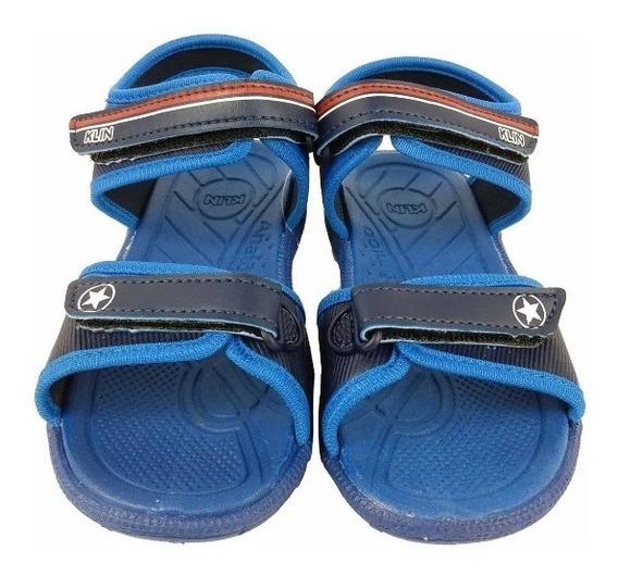 Sandalia Infantil Klin Masculina Tic Tac Azul
