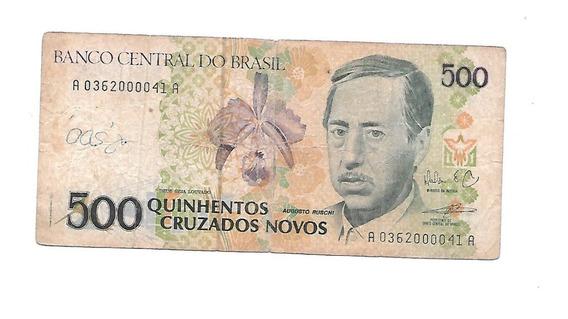 Liquido Billete De Brasil. 500 Cruzados Novos 1989