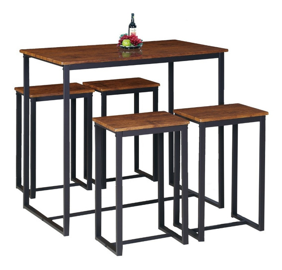 Comedor Bar Moderno 4 Sillas Bancos Metal Hogar Restaurante