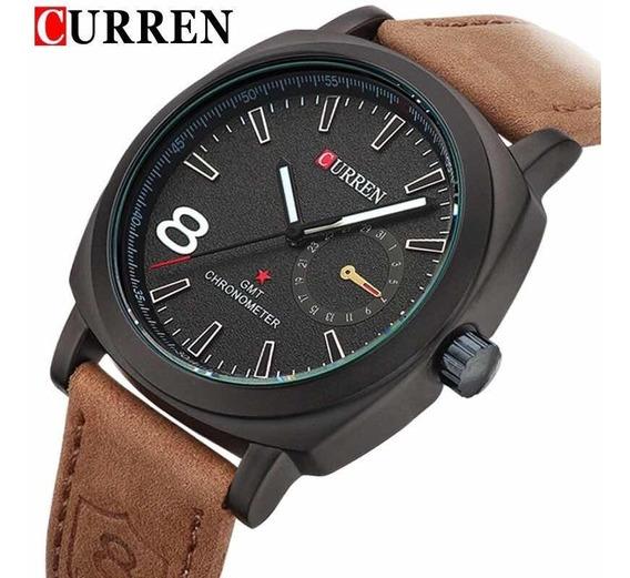 Relógio Luxo Importado Analógico Couro Aço Barato Promoção