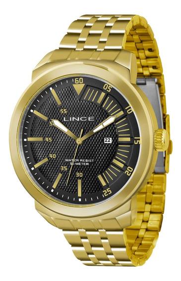 Relógio Lince Mrgh018s P1kx Dourado Redondo Preto - Refinado