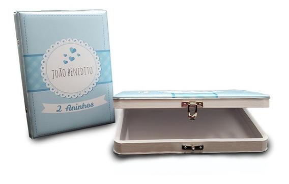 Álbum De Fotos Personalizado Azul Ou Rosa - 200 Fotos 15x21 - Com Caixa