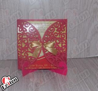 10 Convite De Casamentol Vermelho E Dourado