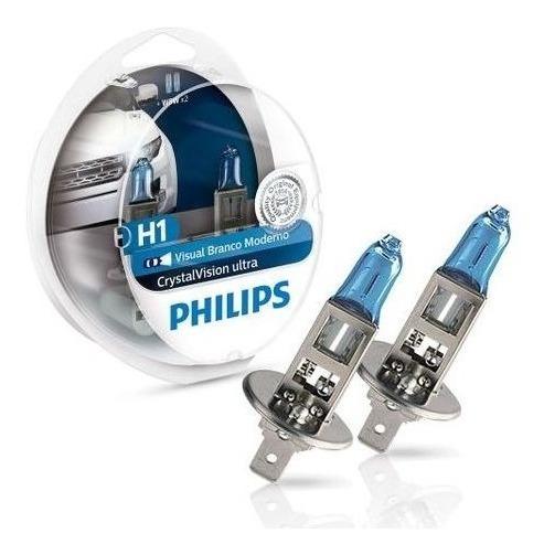 Par Lâmpada H1 Super Branca Philips Crystal Vision Ultra