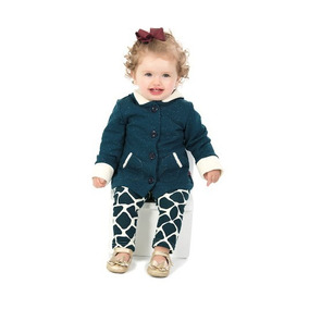 Conjunto Feminino Infantil Capuz Moletom Botone Leg Bebê G