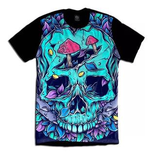 Camisa Camiseta Skull Psychedelic Caveira Psicodelico