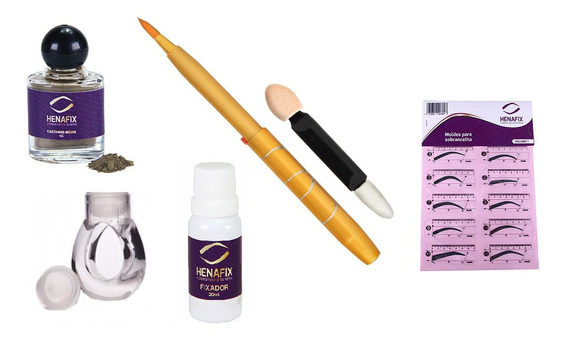 Henna Natural 4.7 Sobrancelha + 12 Moldes + Pincel + Anel Ac