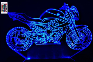 Luminária Led 3d Yamaha Xj6 - 16 Cores Controle