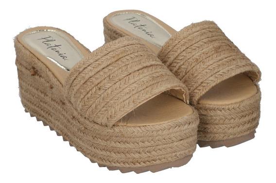 Sandalia Plataforma Con Yute Para Mujer Color Yute Natural