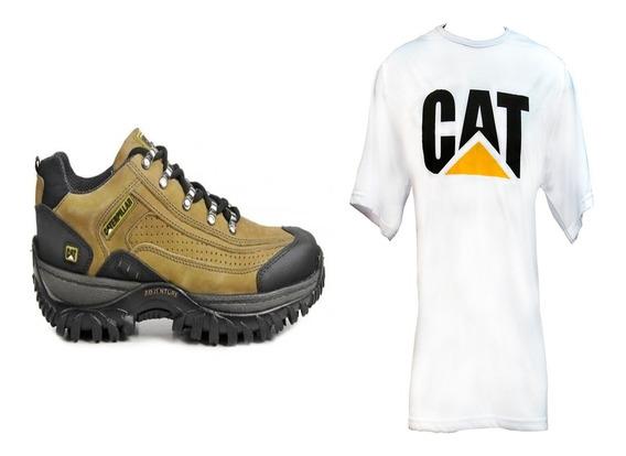 Kit Sapatênis Tênis Caterpillar Couro + Camiseta + Frete