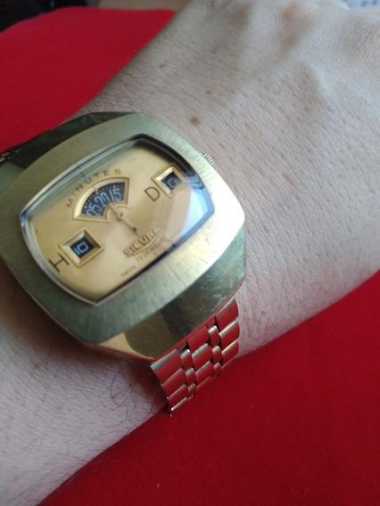 Sensacional Sicura Breitling Dourado Jump Hour Retro Anos 70