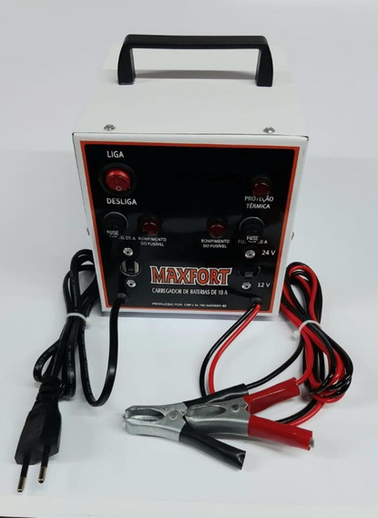 Carregador De Bateria Portátil 10a 12v/24v Maxfort-mx6