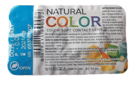 Lentes De Contacto Pupilentes Natural Colors 1 Par 1 Mes