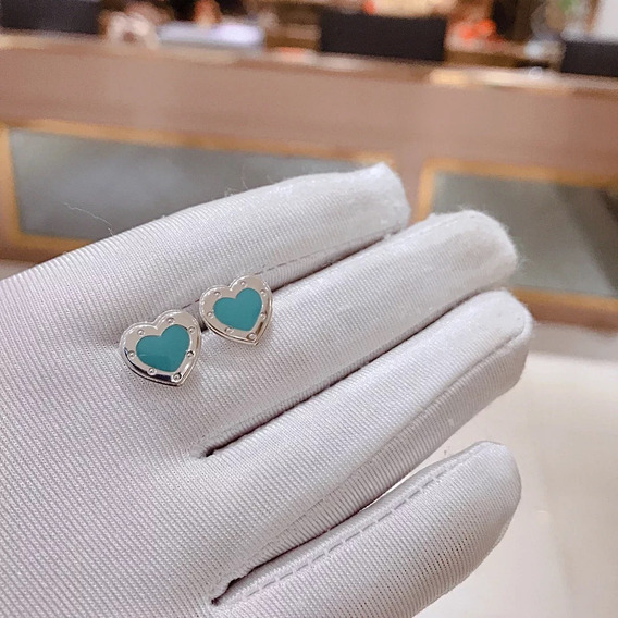 Brinco Tiffany Tiff Coração Prata C/ Embalagem