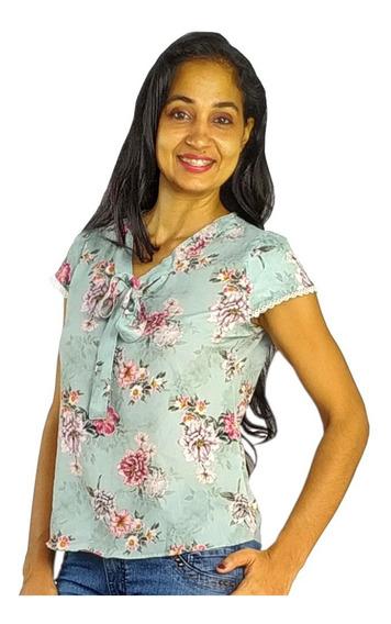 Blusinha Blusa Feminina Crepe Estampada Moda Evangelica