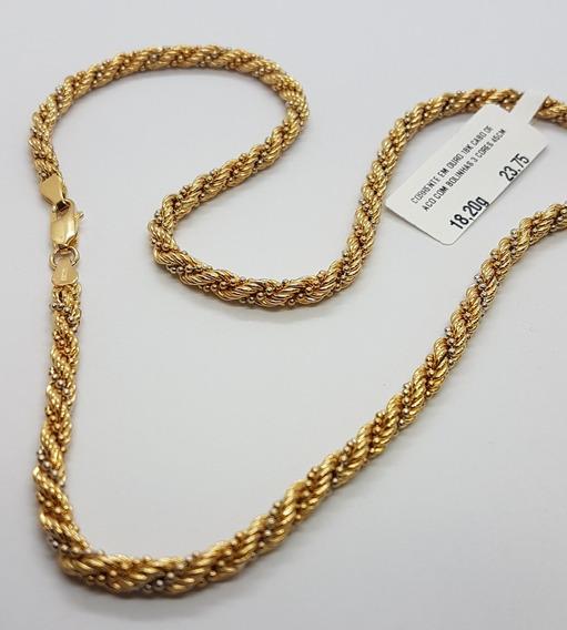 Corrente Ouro 18k Cabo De Aço Com Bolinhas 3 Cores 45 Cm