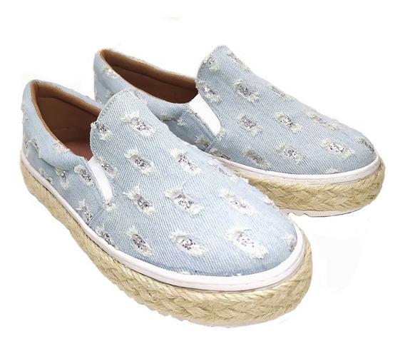 Slip On Tenis Feminino Sola Corda Jeans Azul Rasgado Glitter