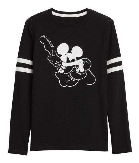 Playera Niño Manga Larga Rayas Disney Mickey Mouse Suave Gap