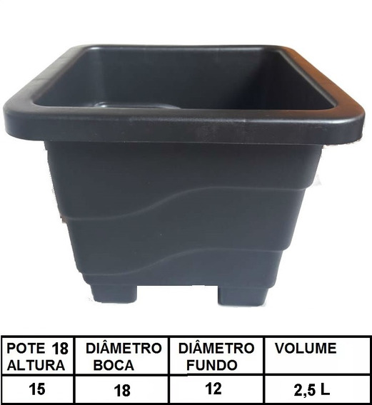 10 Vasos Quadrados Pote 18 2,5l Para Plantas