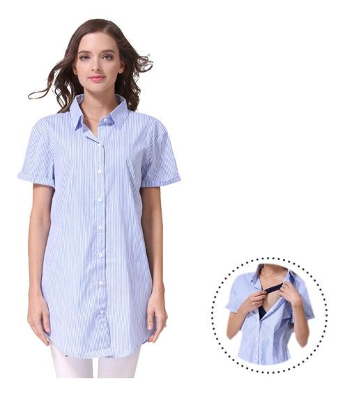 Camisa Para Lactancia Rayas Azules