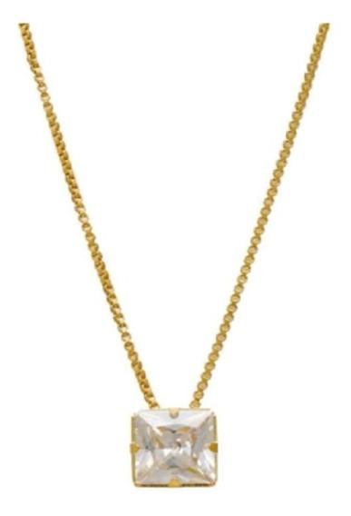 Colar Folheado Ouro 18k Pingente Pedra Zircônia Esposa C75