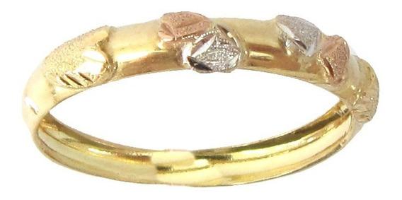 1320 Anel Tricolor De Ouro 18k 750