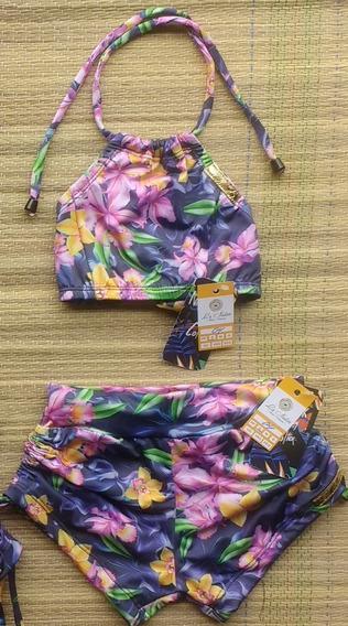 Conjunto Biquíni/bikíni Top Cropped E Sunkini Infantil
