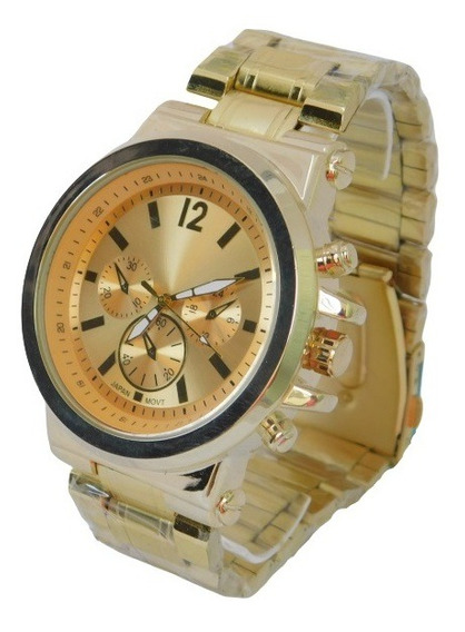 Relógio Masculino A Prova Dágua Dourado Luxo Elegante +caixa