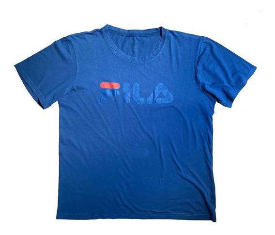 Remera Fila Original Azul Con Logo T. L