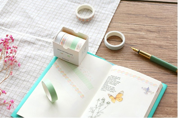 Um Kit De Washi Tape / 5 Fitas Adesivas Decoradas