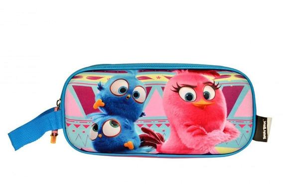 Estojo Duplo Infantil Angry Birds Rosa Escolar Santino