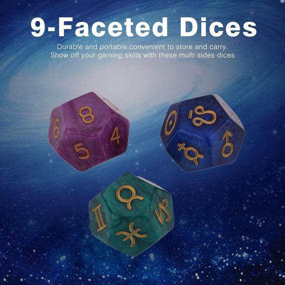 3pcs 9 Poliédrico Dados Astrológico Criador Dados Definir