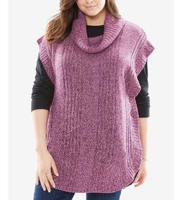 Blusa Frio Poncho Plus Size Suéter Lã Tricô Golão Mesclado