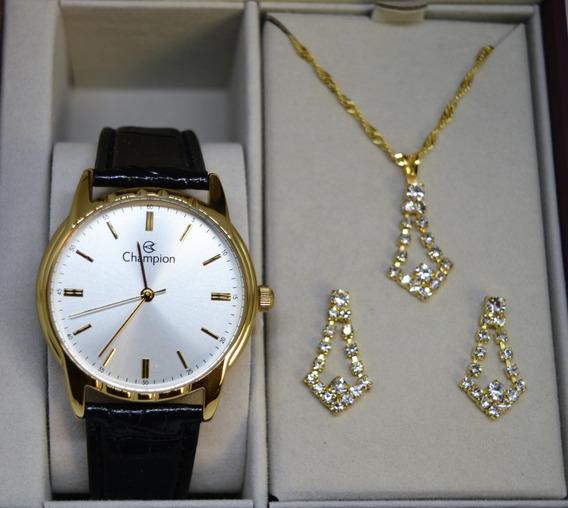 Relógio Champion Fem Dourado Couro Ch22519w + Kit Semi Joia