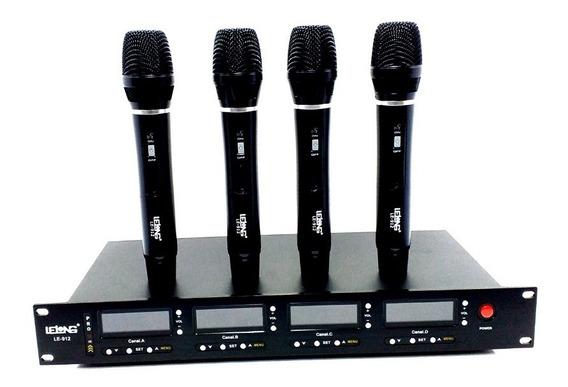 Kit Microfone Uhf Profissional Sem Fio 4 Bastões 590-890 Hz