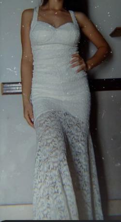 Vestido Blanco Largo De Encaje Corte Sirena