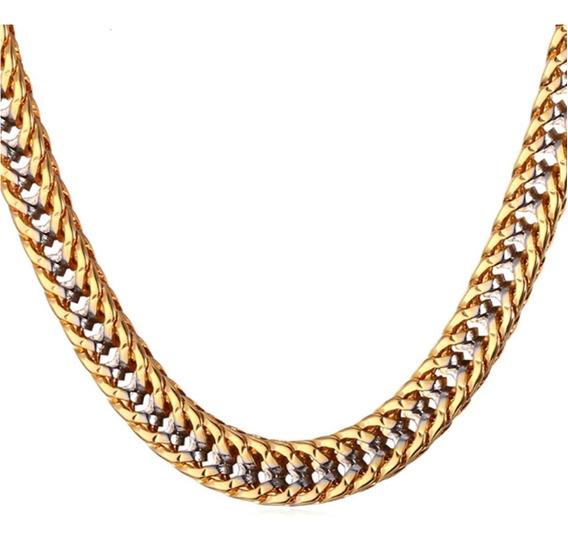 Corrente Colar Cordão Masculino Aço Folheada Ouro 18k C145